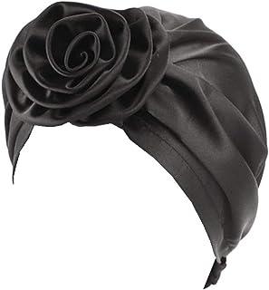 Myluna Women's Satin Flower Elastic Turban Beanie Chemo Cap Hair Loss Hat