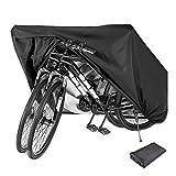 KnightTec Fahrradabdeckung Wasserdicht Fahrrad Schutzhülle Abdeckplane 210D Oxford-Gewebe Fahrradgarage für 2 Fahrräder Wasserfest Schutz vor Staub Regen Schnee UV,mit Beutel