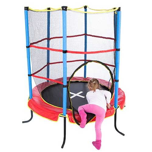 Ultrasport Men Kids Indoor Trampoline Jumper 140 cm,Fun and Fitness Trampoline for Kids Aged 3 Years and up, Incredibly Safe with a Net and Edge Cover, Red