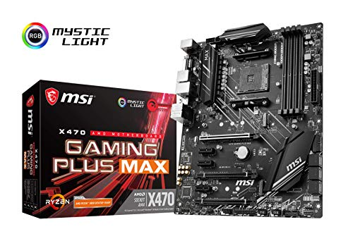 X470 GAMING PLUS MAX - Placa base (4 PCI-E Gen3 , Audio boost, conectores pin 8+4, Mystic Light RGB)