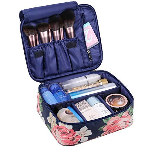 Reise Kosmetiktasche Große Make-up-Tasche Schminktasche Kosmetiktasch Organizer für Damen und Mädchen (Blaue Pfingstrose)