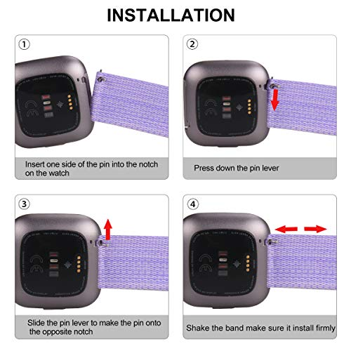 Findway Compatible with Fitbit Versa/Fitbit Versa 2/Fitbit Versa Lite, Breathable Woven Fabric Strap Adjustable Wristband for Women Men