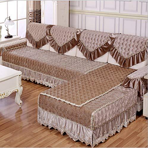 QFYD FDEYL Einfarbig Sofahusse,Italienisches Kaschmirsofakissen, rutschfeste Sofabezug-Kaffee Color_One Person 90 * 90,Anti-Rutsch Sofabezug für Wohnzimmer sofaschoner,
