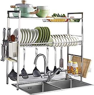 DJSMsnj Rangement de cuisine, égouttoir à vaisselle, 2 étages en acier inoxydable avec égouttoir à couverts, plan de travail