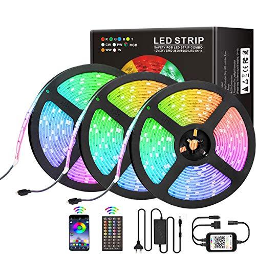 LED Streifen Licht 15M, RGB LED Band, Bluetooth LED Strip 450 LEDs 5050 SMD Lichtband LED Lichtleiste Sync zur Musik,mit APP-Steuerung und 44 Tasten Fernbedienung Für Haus,Garten,Schlafzimmer 3x5M