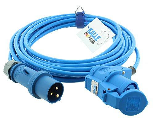 CEE-Verlängerung 230V H07BQ-F 3G 2,5 mm² 10 m Vollpur-Premium-Leitung mit Winkelkupplung von KALLE DAS KABEL für Industrie Bau Boot...