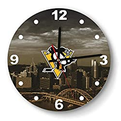 GHUET Modern Pittsburgh-Penguins-City-Yellow-Black-ice-Hockey- Style Wall Clock Acrylic School Quiet Clock