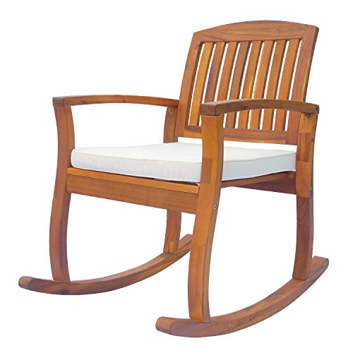 Outsunny Garden Acacia Wood Rocking Chair Deck Indoor Outdoor Porch Seat Rocker with Cushion