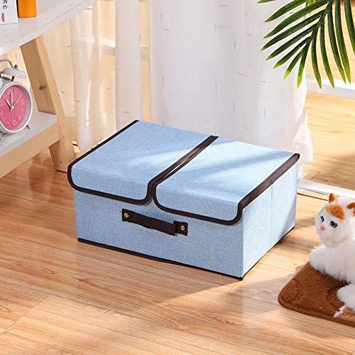 Transparent Organiser,Fabric Foldable Double Cover Storage Box Clothes Storage Storage Box-Light Blue_Big