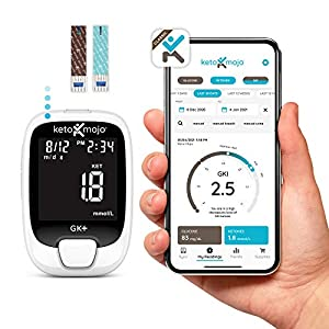 KETO-MOJO Bluetooth Monitor + Online APP Glucose & Ketone, 20 Test Strips (10 Each), Meter, 20 Lancets, Lancing Device, Control Solutions. Ketosis & Ketogenic Diets Dual Blood Monitoring System from Ketosis