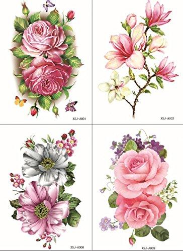 Slopestyle nouvelles et de la mode 4pcs de conception dans un seul paquet, il 4pcs y compris les fleurs colorées, roses, pivoines et de lys faux tatouage temporaires autocollants