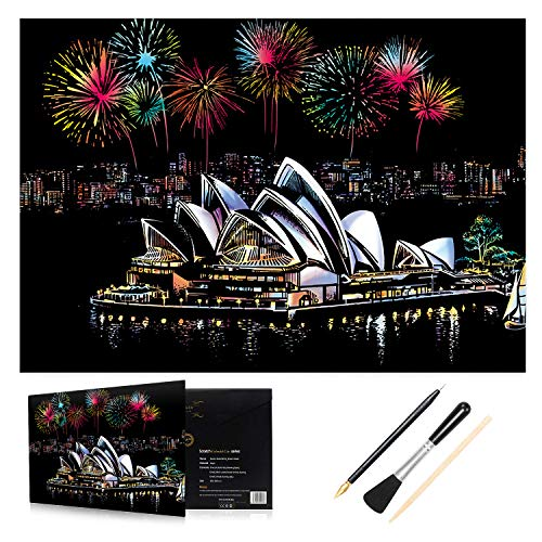 H HOMEWINS Kratzbilder 405 x 285 MM Weltberühmte Sehenswürdigkeiten Wandbild DIY Kunst Zeichnung City Night View Schwarz Beschichtet Bunte Kratzpapier mit Werkzeug Set (Sydney Opera House)
