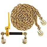 Peerless QuikBinder Plus Ratchet Load Binder and US Cargo Control 3/8 Inch x 20 Foot Grade 70 Chain Set - Easily Secure Heavy Loads to A Truck Or Flatbed Trailer - 6,600 Pound Working Load Limit