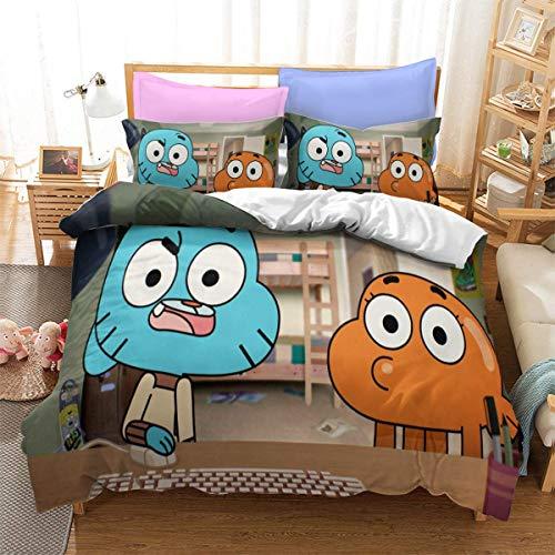 QWAS Forrest Gumball - Funda nórdica para cama infantil, acabado 3D, 135 x 200 cm, 140 x 210 cm, 200 x 200 cm, 220 x 240 cm (L3,140 x 210 cm +50 x 75 cm x2)