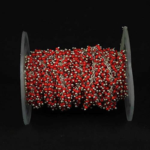 Shree_Narayani Cadena de rosario de cuentas de coral rojo Rondelle con alambre facetado envuelto en plata estilo rosarios cadena de cuentas colgante racimo angoori Strand