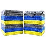 Polyte - Paño de Limpieza de Microfibra superabsorbente - Azul, Amarillo, Gris - 41 x 41cm - Pack de 36
