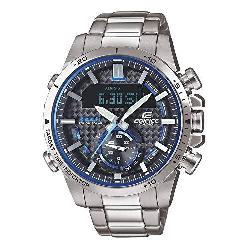 Casio Herren Analog Quarz Uhr mit Edelstahl Armband ECB-800D-1AEF