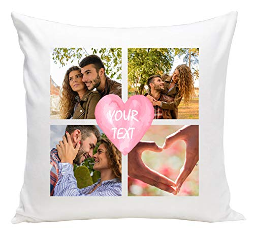 Ferocity Personalised Cushion Gift with your Photo and text (40 x 40 cm) Print Image Gift for any Occasion (with filling) 4 photos with text [091]