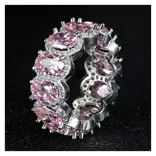 XYBH Timbre de Timbre 925 Anillo de Bodas de Plata esterlina Anillo de eternidad Femenino Regalo Grande for Las señoras Amor Anillo (Gem Color : R4574 Pink, Ring Size : 10)