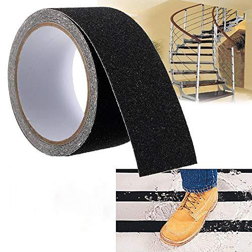 Oukerde Cinta Antideslizante Escaleras Exterior y Interiores,Cinta Adhesiva Antideslizante Seguridad Suelo Negro,Cinta Antideslizante Skate Alta Tracción