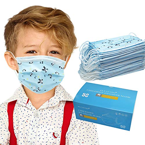 Kids Disposable Face Mask Boys - Flyaudio 50Pcs 3 ply Face Mask for Childrens with Earloops, Breathable Comfortable, Soft on Skin, Perfect Size Mask for Boys & Girls, Blue Panda
