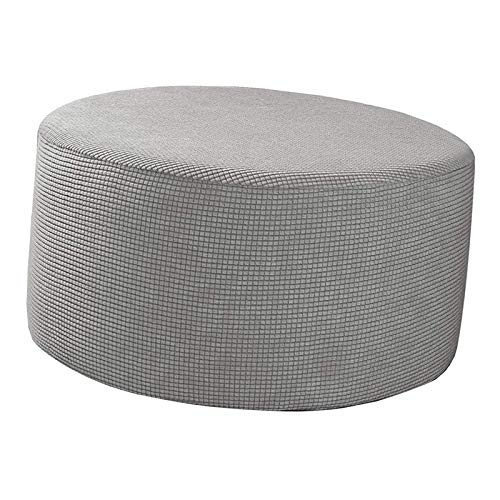 Tubayia Funda elástica para taburete, otomana, redonda, color gris