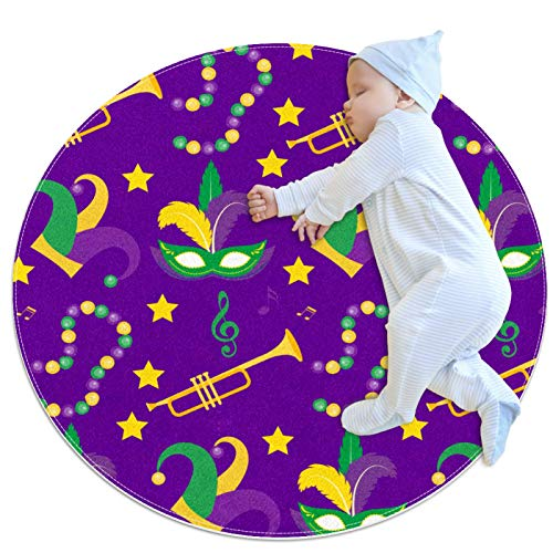 Tappeto rotondo lavabile per cucina, camera da letto e soggiorno, cappello da clown viola