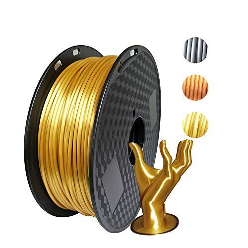 Kehuashina PLA Filament 2.85mm Diameter for 3D Printer - Shiny Metallic Luster Silk Gold Golden - 1kg(2.2LB) Silk Pla Spool (Like Real Gold) - 3D Printer Supplies Accessories