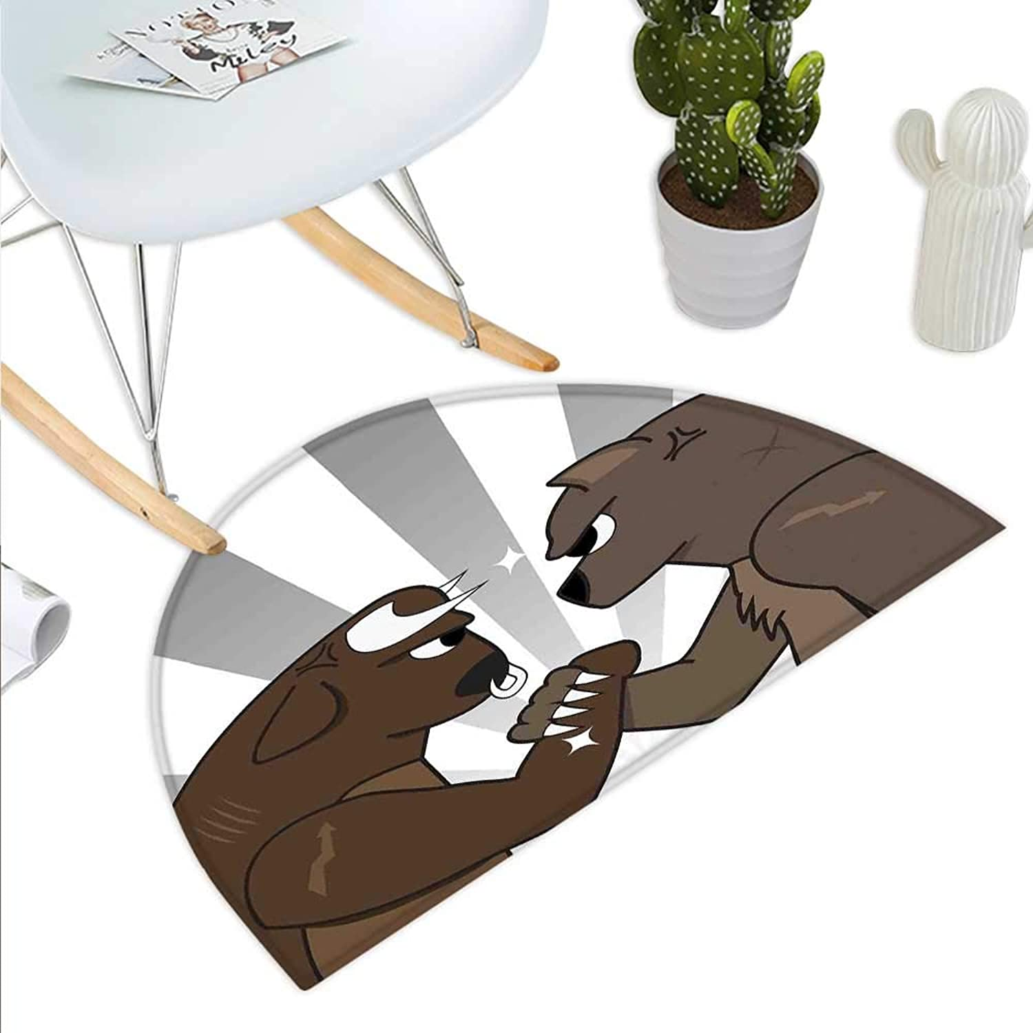 Cartoon Semicircle Doormat Bull Bear Preparing to Fight Striped Background Wild Competition Halfmoon doormats H 39.3  xD 59  Pale Grey Brown Army Green