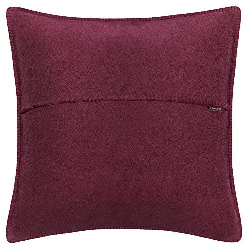 Soft-Fleece-Kissenbezug – Polarfleece mit Häkelstich – weiche, hochwertige Sofa-Kissenhülle – 50x50 cm - 390 wine - von 'zoeppritz since 1828'