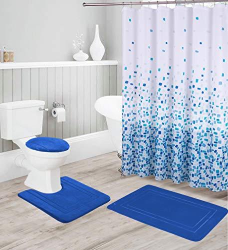 Better Home Style 16 Stück einfarbiges modernes Design geprägtes Memory-Schaum Badezimmerteppich Set inklusive Badvorleger, Konturmatte, Deckelbezug, Duschvorhang & 12 Haken königsblau