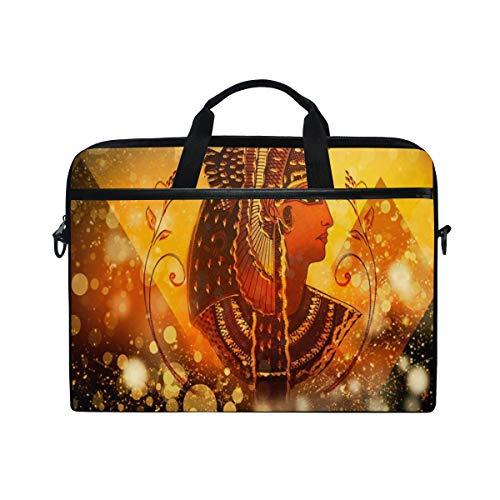 LOSNINA Laptop Tasche 15-15.4 Zoll,Alte ägyptische Königin Frauen unter Pyramiden Piktogramm auf goldenem Bling Funkeln,Neue Drucken Muster Aktentasche Schulter Messenger Handtasche Case Sleeve