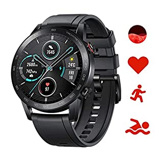 scheda honor magic watch 2 smartwatch,gps 5atm impermeabile orologio bluetooth smart monitor di frequenza cardiaca, stress e spo2,smart watch donne uomo, per android (nero 46mm)