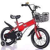 Axdwfd Infantiles Bicicletas Bicicleta Plegable for niños, 2-13 años Niños y niñas Bicicletas de Carretera de 12/14/16/18 Pulgadas con Ruedas de Entrenamiento Desmontables