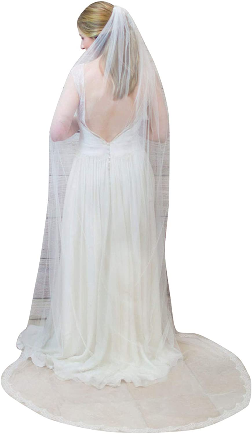 Lace Wedding Veils 1 Tier Cathedral Ivory Elegant Bridal Accessories with Comb