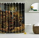 taquxinlaowan Magic Books Cortina de Ducha de Halloween Set Baño Cortinas de Tela Impermeables