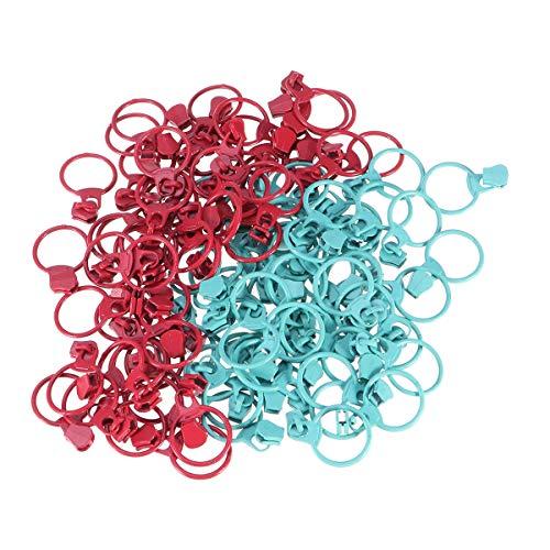SUPVOX 100 Piezas Circulares Cremalleras metálicas extractores Reemplazo Cremalleras Partes Cremalleras DIY Costura (Verde y Rojo para Cada 50 Piezas)