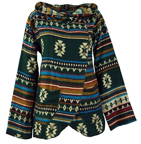 Guru-Shop Cape, Boho Wickeljacke Inka Muster, Damen, Grün/bunt, Synthetisch, Size:S (36), Boho Jacken, Westen Alternative Bekleidung