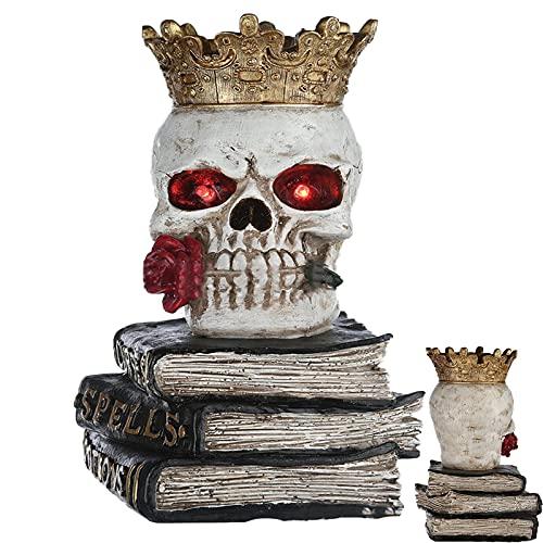 N\ A Glowing Skull Crown Skull Head Cranio Seduto Libro Desktop Decorazione Per Halloween Horror Gotico Resina Artigianato Desktop Decorazione Horror partito casa decorazione