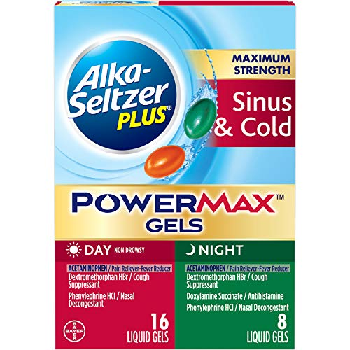 ALKA-SELTZER PLUS Maximum Strength PowerMax Sinus and Cold Medicine, Day + Night Liquid Gels for Adults with Pain Reliever, Fever Reducer, Cough Suppressant, Nasal Decongestant, 24 Count