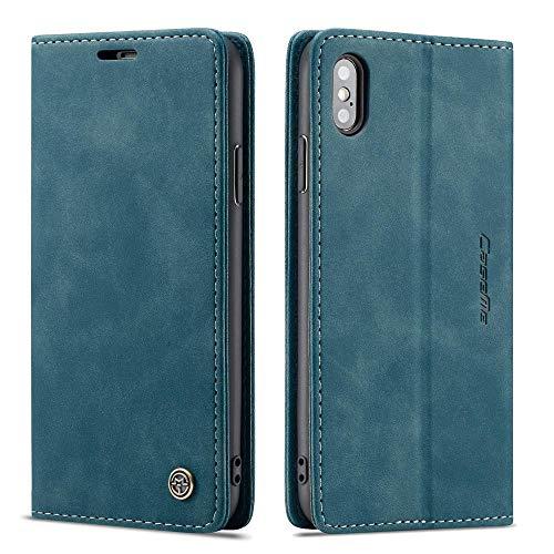CE Mall Hülle für iPhone X,Hülle für iPhone XS, Leder Flip Handyhülle Schutzhülle Tasche Hülle mit [Magnetverschluss] [Standfunktion] [Kartenfach] für iPhone X Hülle,für iPhone XS Handyhülle-Blau