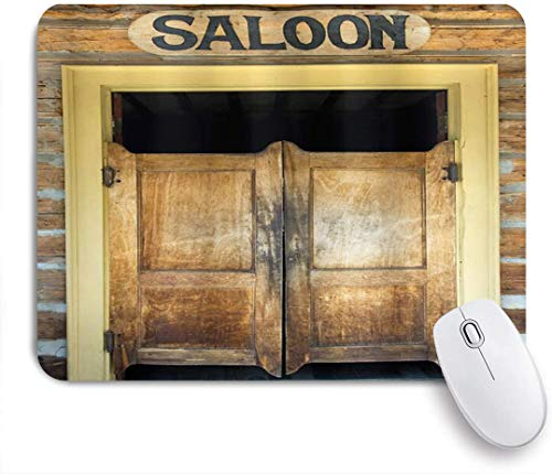 MUYIXUAN Mauspad - Authentische Salontüren des alten westlichen Gebäudes in Montana Ghost Town Image - Gaming und Office rutschfeste Gummibasis Mauspads,240×200×3mm