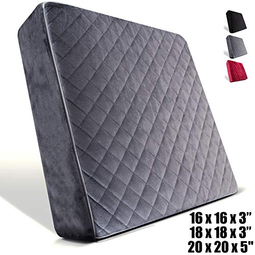 Comfortanza Chair Seat Cushion - 18x18x3 Inches Medium Firm Pure Memory Foam Large Non-Slip Pads for Kitchen, Dining, Office Chairs, Car Seats - Booster Cushion - Comfort and Back Pain Relief - Gray
