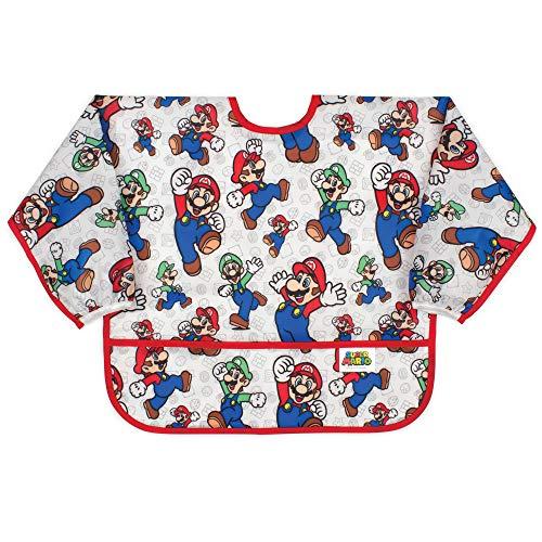 Bumkins Sleeved Bib Baby Bib, Toddler Bib, Smock, Waterproof Fabric, Fits Ages 6-24 Months – Nintendo Super Mario / Mario & Luigis