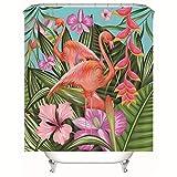 Chickwin Duschvorhang Wasserdicht Antischimmel, Duschvorhänge Polyester Waschbar Bad Vorhang mit 12 Duschvorhangringe - 3D Tropische Pflanze Motiv Badewanne Vorhang (Flamingo,180x200cm)