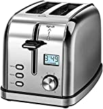 IKICH CP179 4 Slice Prime Rated Stainless Steel [Digital Countdown] Toasters(6 Bread Shade Settings, Bagel/Defrost/Reheat/Cancel Function, 4 Slots, Removable Crumb Tray, 1750W), 18/8, 1750 W, Silver