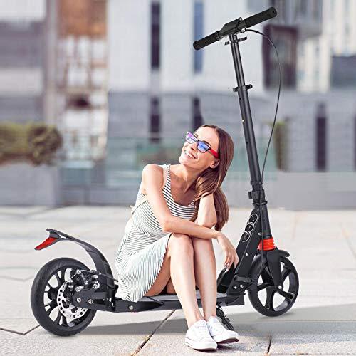 Hesyovy Patinete ligero en forma de T, estable, de aleación de aluminio, plegable y de altura regulable, ruedas grandes de 195 mm, para adultos (freno de mano negro).