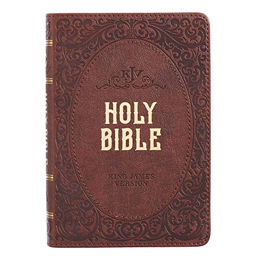 KJV Holy Bible, Compact Bible - Dark Brown Faux Leather Bible w/Ribbon Marker, Red Letter Edition, King James Version