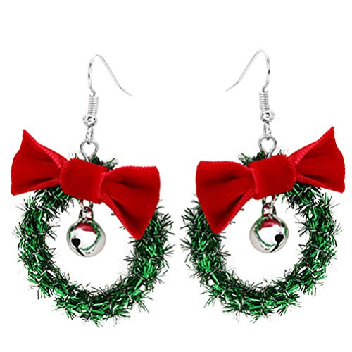 SOIMISS Christmas Garland Bell Earrings with Red Bow Decoration Hanging Wreath Earrings for Party Makeup Jewelry Photo Props Daily Wearing Xmas Gifts(White)