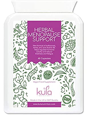 Menopause Support Supplement - 60 Capsules - Advanced Herbal Formula with Vitamins and Minerals incl Soya Isoflavones, Red Clover, Sage Leaf, Ginseng, Wild Yam, Hops, Vit B6, Zinc and more - Kula Nutrition Health Food Supplements - Made in the UK - Suitab